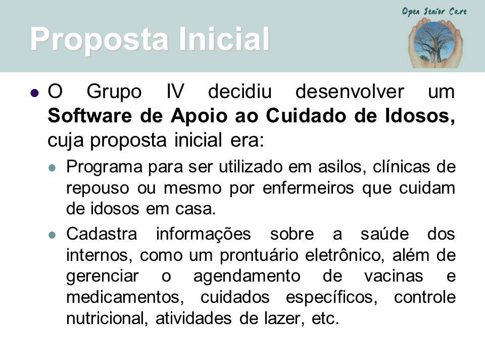 Proposta Inicial O Grupo IV decidiu desenvolver um Software de Apoio ao Cuidado de Idosos, cuja proposta inicial era: Programa para ser utilizado em a