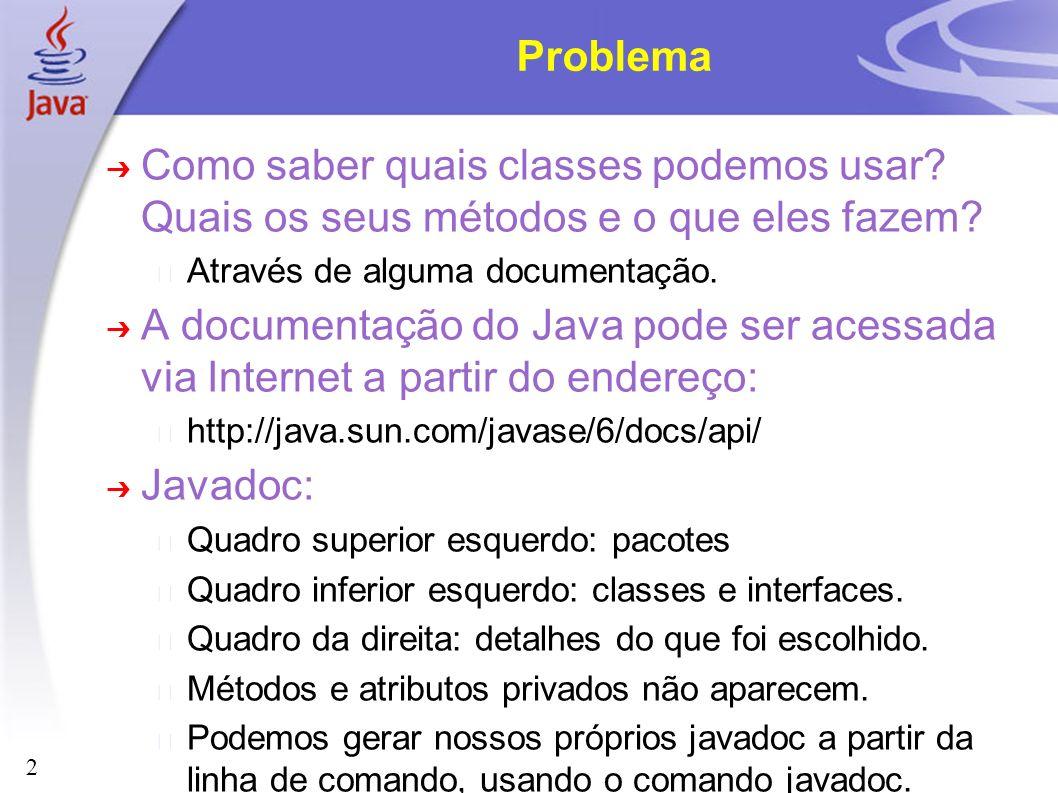 2 Problema Como saber quais classes podemos usar? Quais os seus métodos e o que eles fazem? Através de alguma documentação. A documentação do Java pod