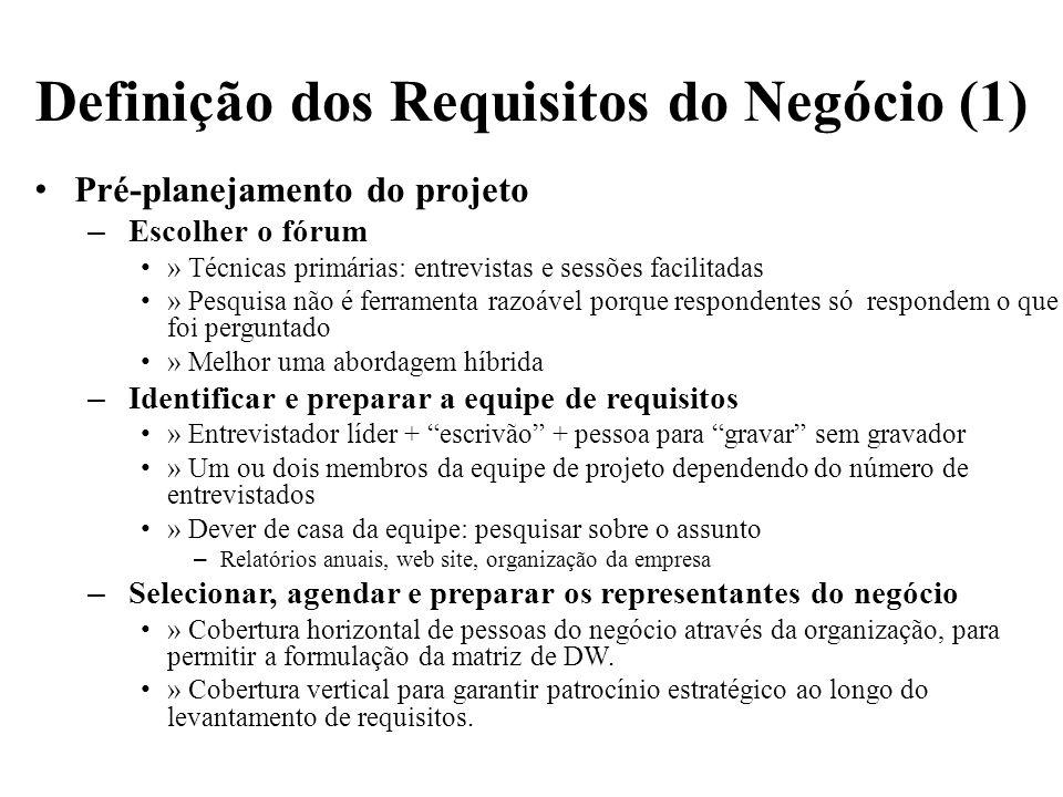Definição dos Requisitos do Negócio (1) Pré-planejamento do projeto – Escolher o fórum » Técnicas primárias: entrevistas e sessões facilitadas » Pesqu