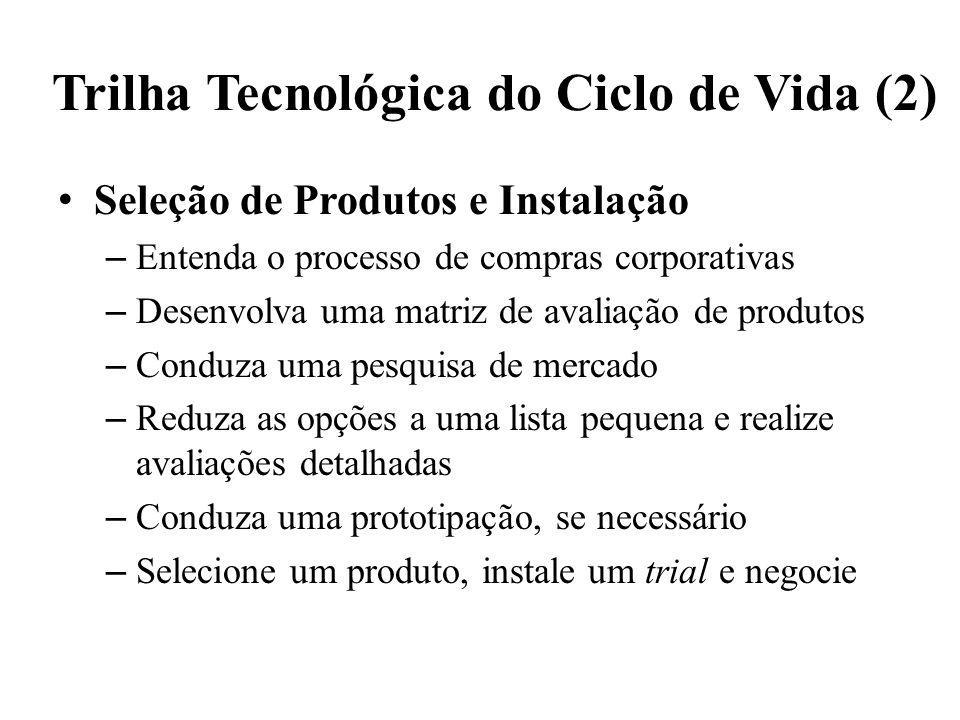 Trilha Tecnológica do Ciclo de Vida (2) Seleção de Produtos e Instalação – Entenda o processo de compras corporativas – Desenvolva uma matriz de avali