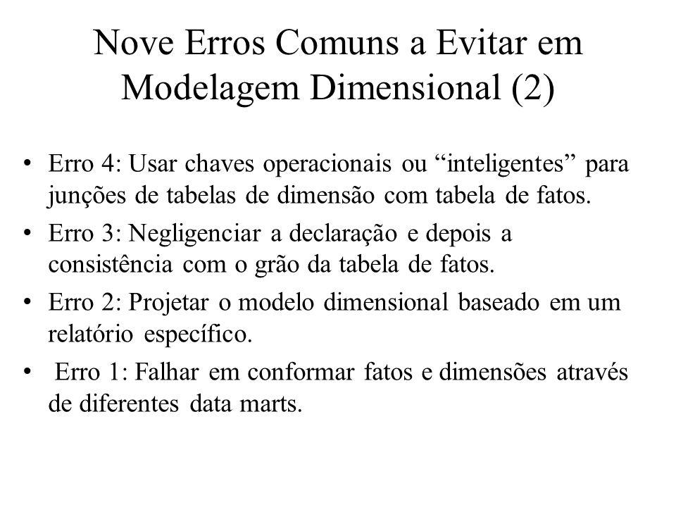 Nove Erros Comuns a Evitar em Modelagem Dimensional (2) Erro 4: Usar chaves operacionais ou inteligentes para junções de tabelas de dimensão com tabel