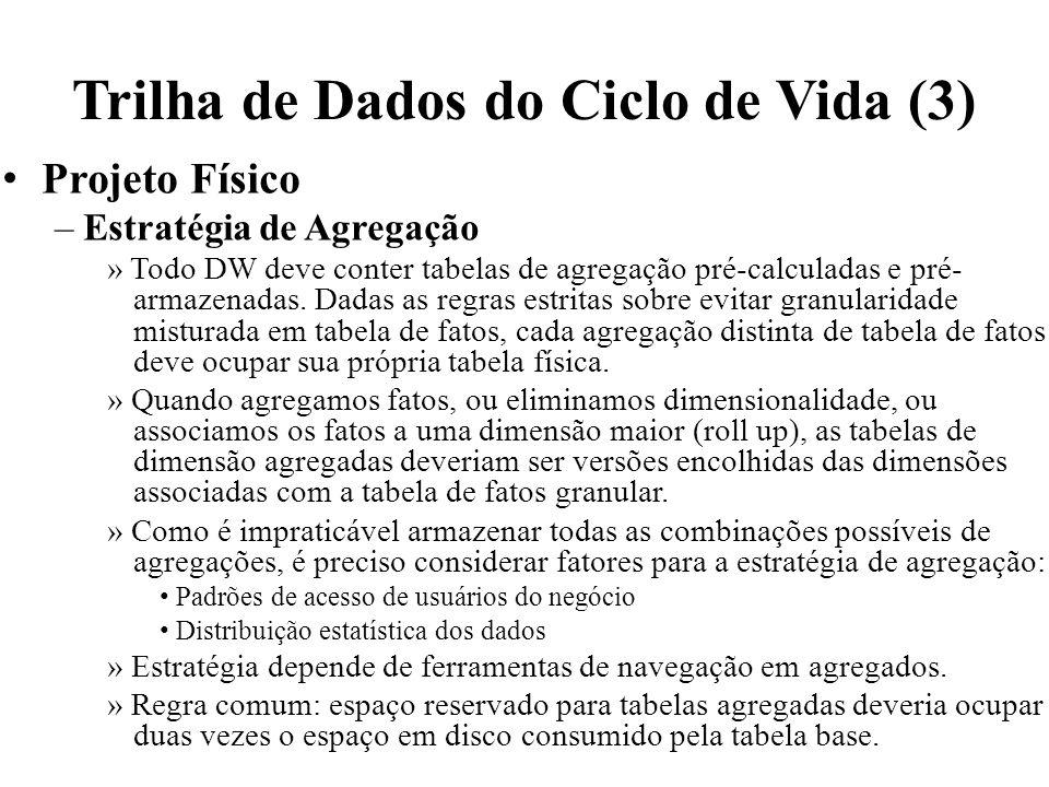 Trilha de Dados do Ciclo de Vida (3) Projeto Físico – Estratégia de Agregação » Todo DW deve conter tabelas de agregação pré-calculadas e pré- armazen