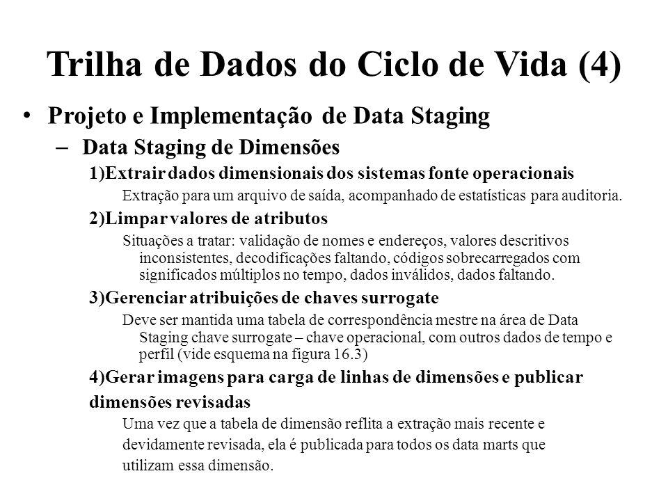 Trilha de Dados do Ciclo de Vida (4) Projeto e Implementação de Data Staging – Data Staging de Dimensões 1)Extrair dados dimensionais dos sistemas fon
