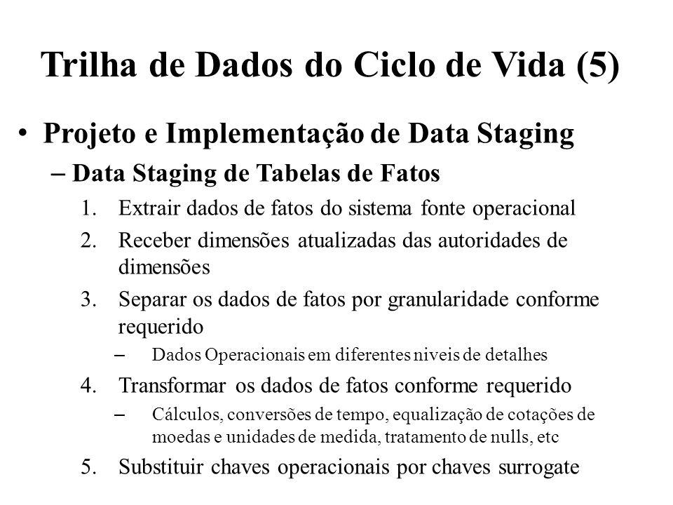 Trilha de Dados do Ciclo de Vida (5) Projeto e Implementação de Data Staging – Data Staging de Tabelas de Fatos 1.Extrair dados de fatos do sistema fo