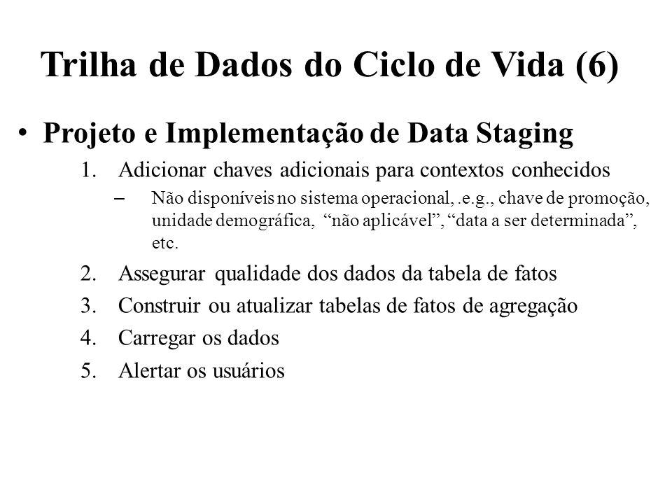 Trilha de Dados do Ciclo de Vida (6) Projeto e Implementação de Data Staging 1.Adicionar chaves adicionais para contextos conhecidos – Não disponíveis