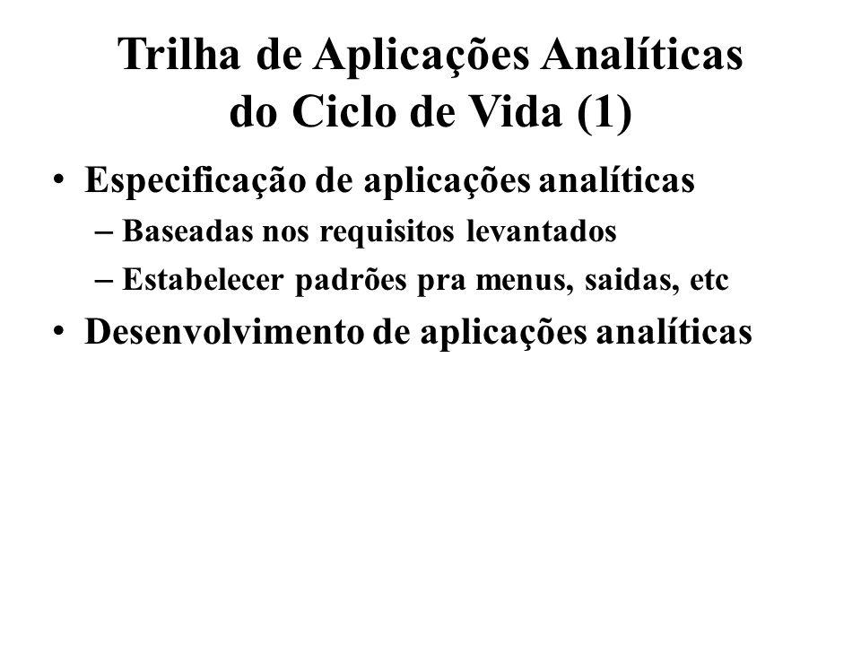 Trilha de Aplicações Analíticas do Ciclo de Vida (1) Especificação de aplicações analíticas – Baseadas nos requisitos levantados – Estabelecer padrões