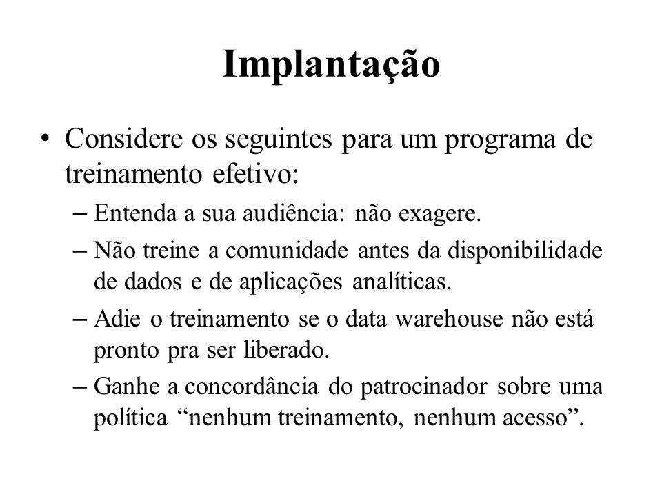 Implantação Considere os seguintes para um programa de treinamento efetivo: – Entenda a sua audiência: não exagere. – Não treine a comunidade antes da