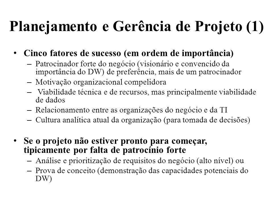 Planejamento e Gerência de Projeto (1) Cinco fatores de sucesso (em ordem de importância) – Patrocinador forte do negócio (visionário e convencido da