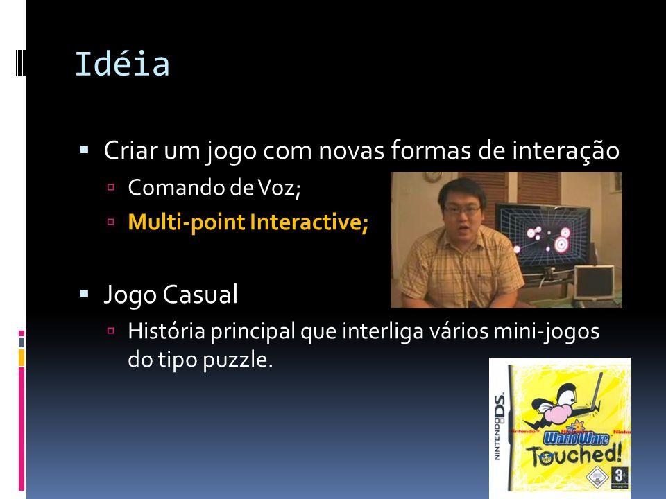 Idéia Criar um jogo com novas formas de interação Comando de Voz; Multi-point Interactive; Jogo Casual História principal que interliga vários mini-jo