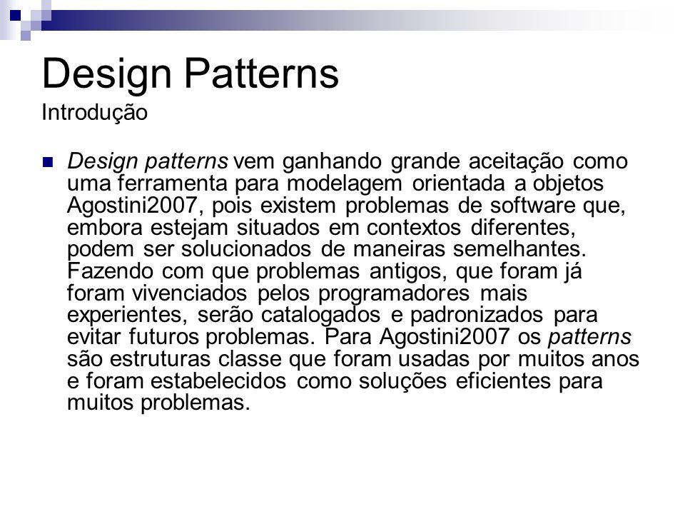 Design Patterns Origem \textit{Design Patterns}, também conhecidos como padrões de projeto, tiveram origem no conceito de reuso de software.