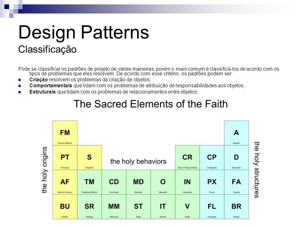 Design Patterns Motivação Design patterns têm vários usos no processo de desenvolvimento de software orientado a objetos (Schneide, 1999): Formam um vocabulário comum que permite uma melhor comunicação entre os desenvolvedores, uma documentação mais completa e uma melhor exploração das alternativas de projeto.