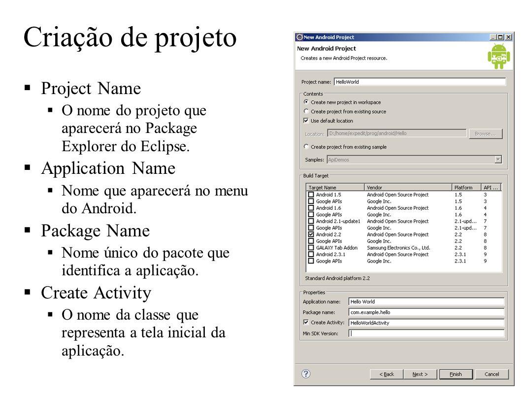 Criação de projeto Project Name O nome do projeto que aparecerá no Package Explorer do Eclipse. Application Name Nome que aparecerá no menu do Android