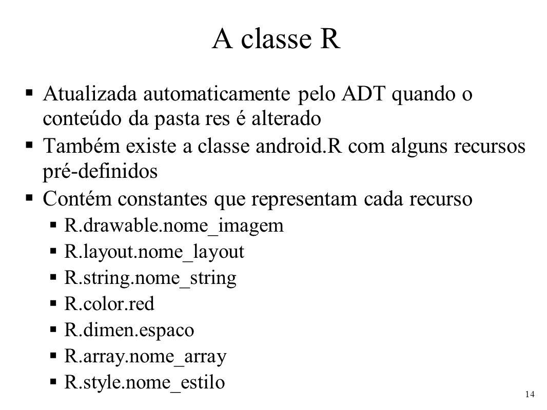 A classe R Atualizada automaticamente pelo ADT quando o conteúdo da pasta res é alterado Também existe a classe android.R com alguns recursos pré-defi