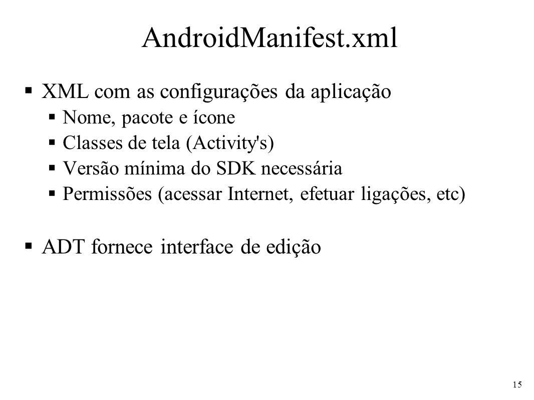 AndroidManifest.xml XML com as configurações da aplicação Nome, pacote e ícone Classes de tela (Activity's) Versão mínima do SDK necessária Permissões