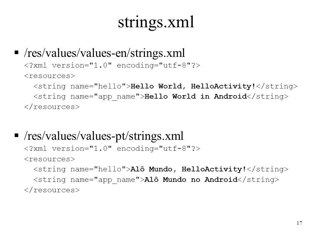 strings.xml /res/values/values-en/strings.xml Hello World, HelloActivity! Hello World in Android /res/values/values-pt/strings.xml Alô Mundo, HelloAct