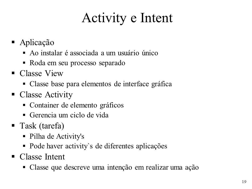 Activity e Intent Aplicação Ao instalar é associada a um usuário único Roda em seu processo separado Classe View Classe base para elementos de interfa