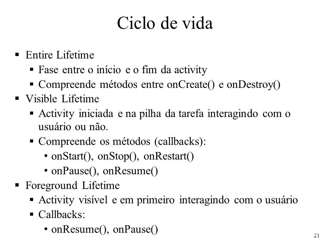 Ciclo de vida Entire Lifetime Fase entre o início e o fim da activity Compreende métodos entre onCreate() e onDestroy() Visible Lifetime Activity inic