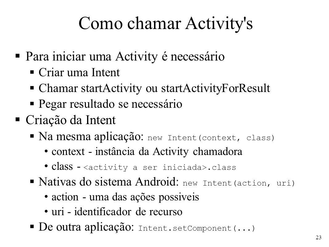 Como chamar Activity's Para iniciar uma Activity é necessário Criar uma Intent Chamar startActivity ou startActivityForResult Pegar resultado se neces