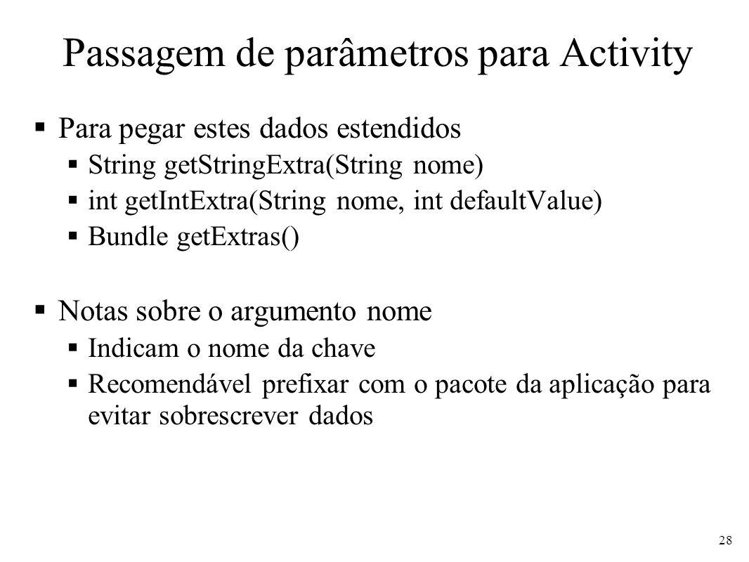 Passagem de parâmetros para Activity Para pegar estes dados estendidos String getStringExtra(String nome) int getIntExtra(String nome, int defaultValu