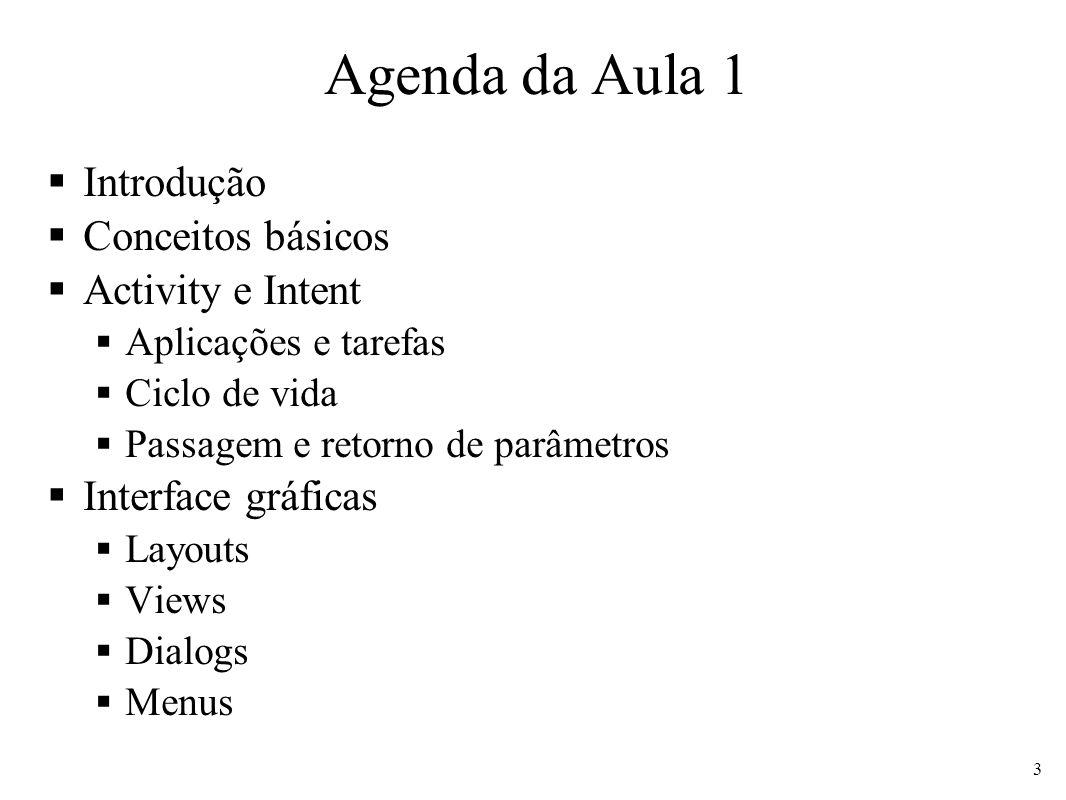 Agenda da Aula 1 Introdução Conceitos básicos Activity e Intent Aplicações e tarefas Ciclo de vida Passagem e retorno de parâmetros Interface gráficas