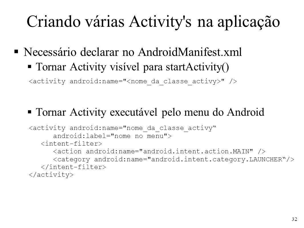 Criando várias Activity's na aplicação Necessário declarar no AndroidManifest.xml Tornar Activity visível para startActivity() Tornar Activity executá