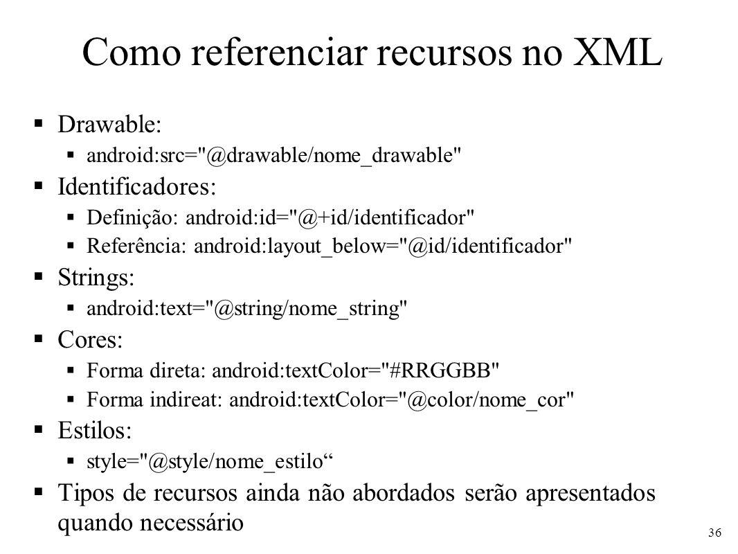 Como referenciar recursos no XML Drawable: android:src=