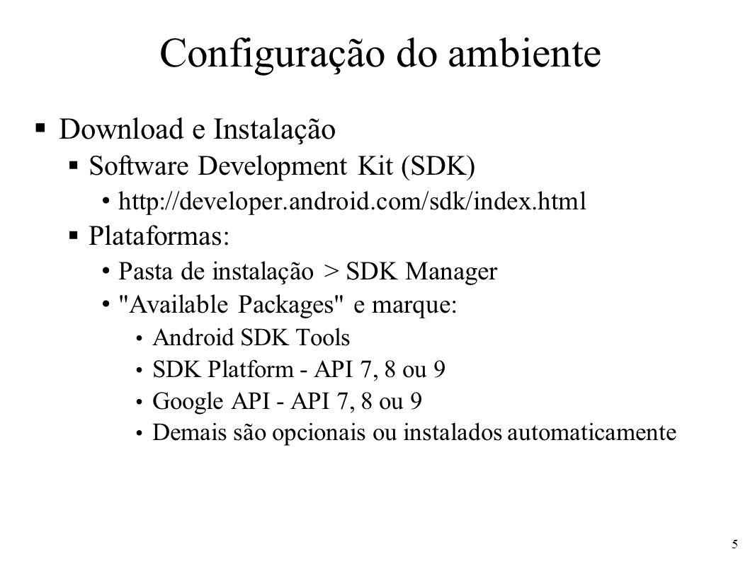 Configuração do ambiente Download e Instalação Software Development Kit (SDK) http://developer.android.com/sdk/index.html Plataformas: Pasta de instal