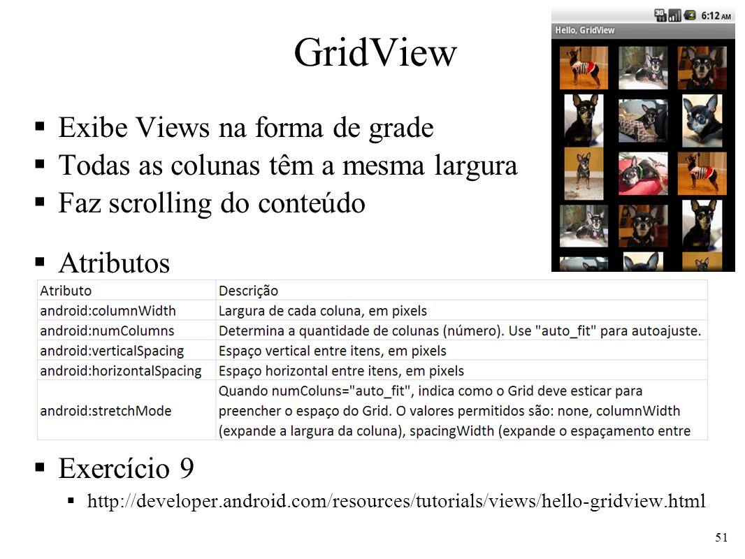 GridView Exibe Views na forma de grade Todas as colunas têm a mesma largura Faz scrolling do conteúdo Atributos Exercício 9 http://developer.android.c