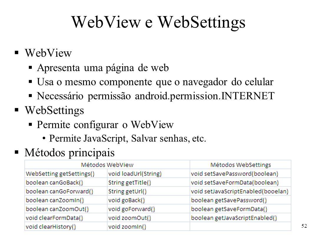 WebView e WebSettings WebView Apresenta uma página de web Usa o mesmo componente que o navegador do celular Necessário permissão android.permission.IN