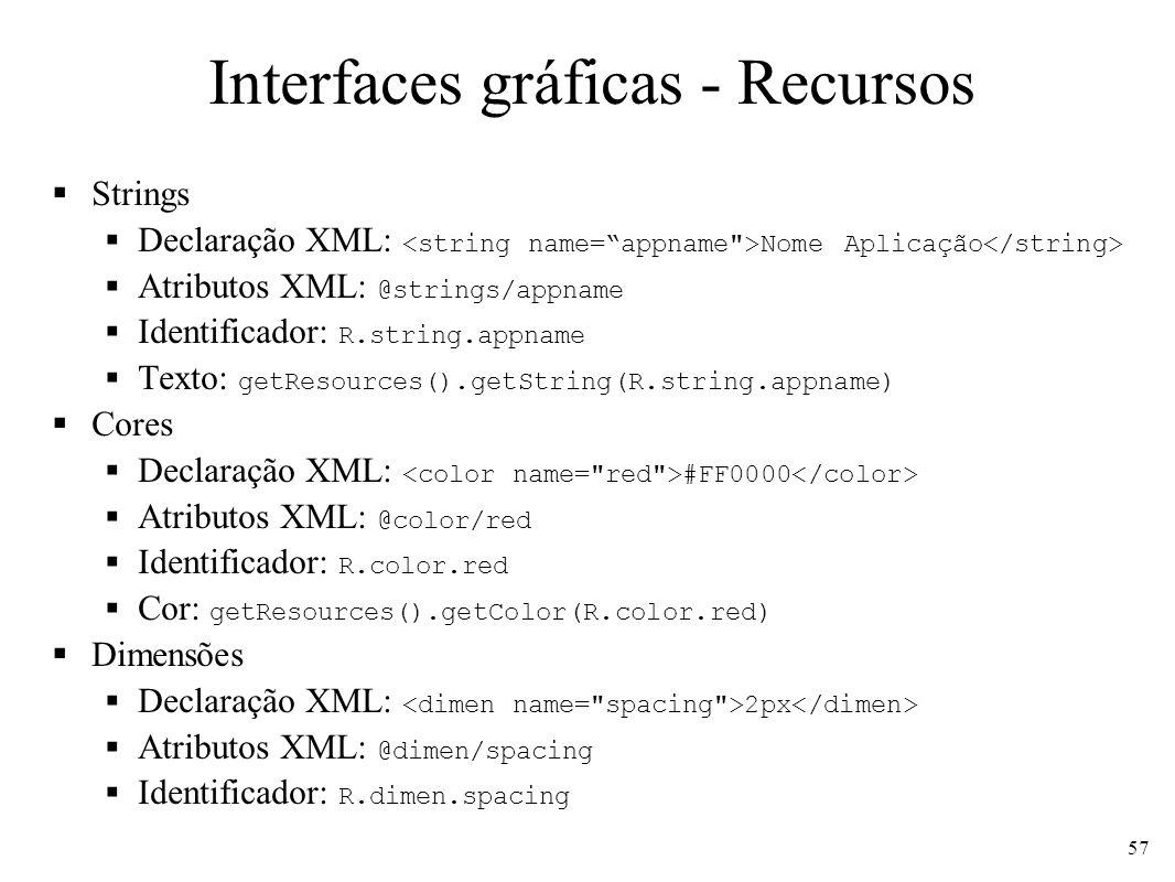 Interfaces gráficas - Recursos Strings Declaração XML: Nome Aplicação Atributos XML: @strings/appname Identificador: R.string.appname Texto: getResour