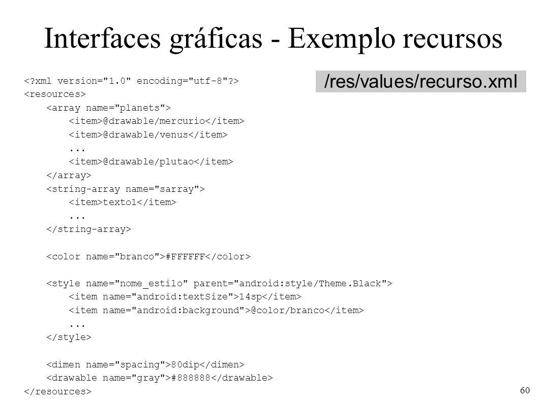 Interfaces gráficas - Exemplo recursos @drawable/mercurio @drawable/venus... @drawable/plutao texto1... #FFFFFF 14sp @color/branco... 80dip #888888 /r