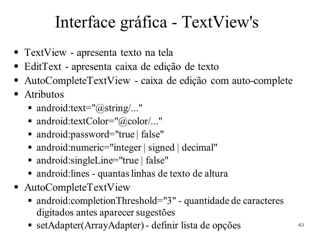 Interface gráfica - TextView's TextView - apresenta texto na tela EditText - apresenta caixa de edição de texto AutoCompleteTextView - caixa de edição