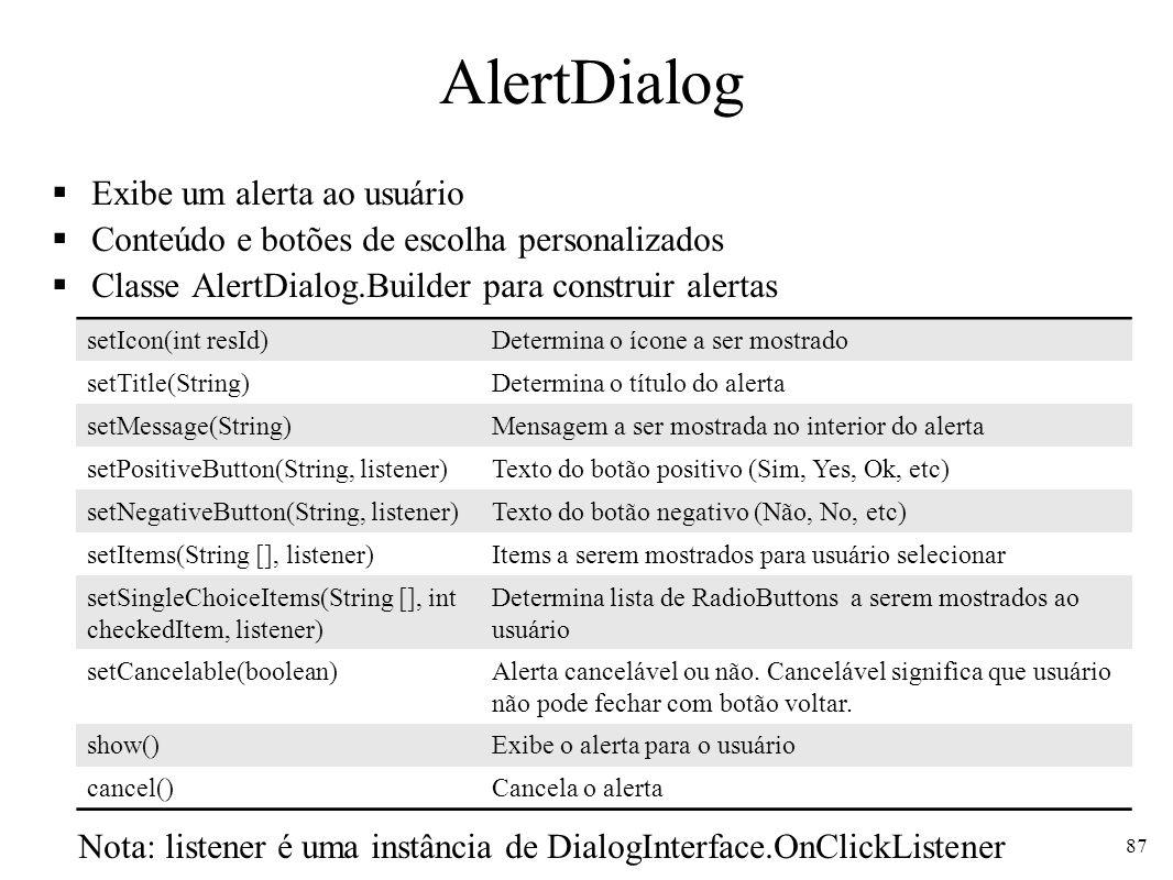AlertDialog Exibe um alerta ao usuário Conteúdo e botões de escolha personalizados Classe AlertDialog.Builder para construir alertas 87 setIcon(int re