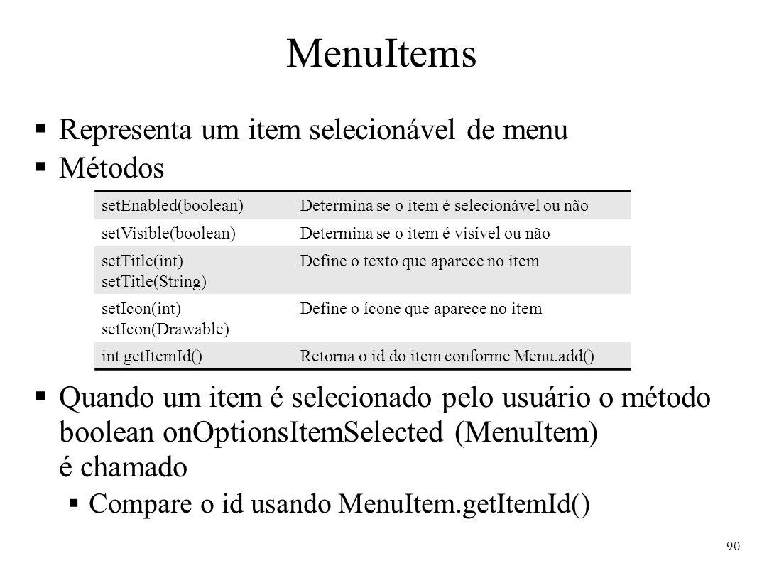 MenuItems Representa um item selecionável de menu Métodos Quando um item é selecionado pelo usuário o método boolean onOptionsItemSelected (MenuItem)