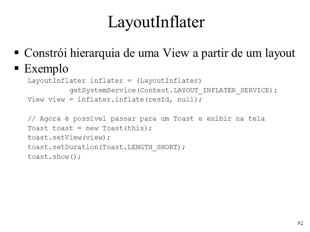 LayoutInflater Constrói hierarquia de uma View a partir de um layout Exemplo LayoutInflater inflater = (LayoutInflater) getSystemService(Context.LAYOU