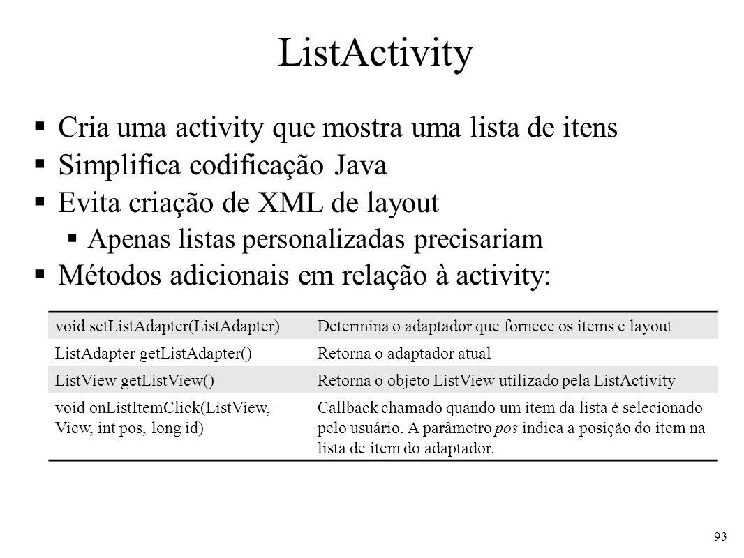 ListActivity Cria uma activity que mostra uma lista de itens Simplifica codificação Java Evita criação de XML de layout Apenas listas personalizadas p