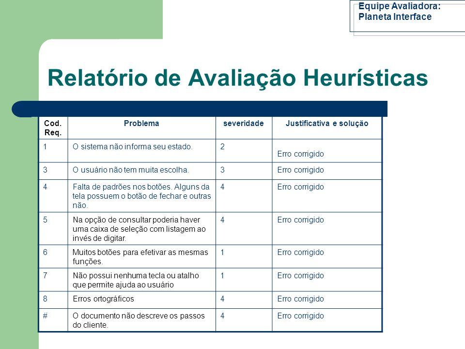 Relatório de Avaliação Heurísticas 1.Visibilidade do Estado do Sistema; 2.