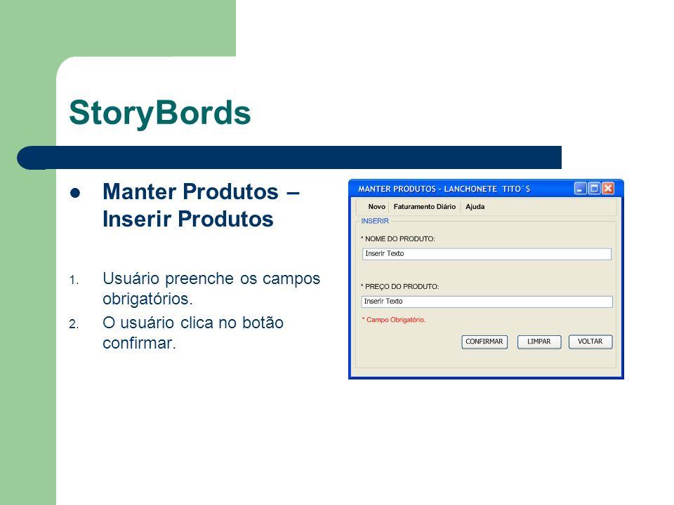 StoryBords Manter Produtos – Tela Consultar 1.Usuário preenche o campo nome do produto.