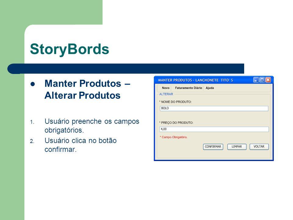 StoryBords Manter Produtos – Inserir Produtos 1.Usuário preenche os campos obrigatórios.