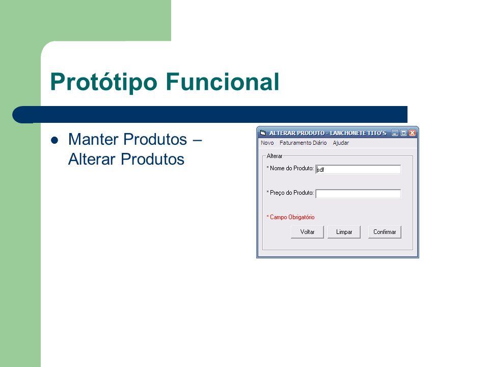Protótipo Funcional Manter Produtos - Inserir Produtos