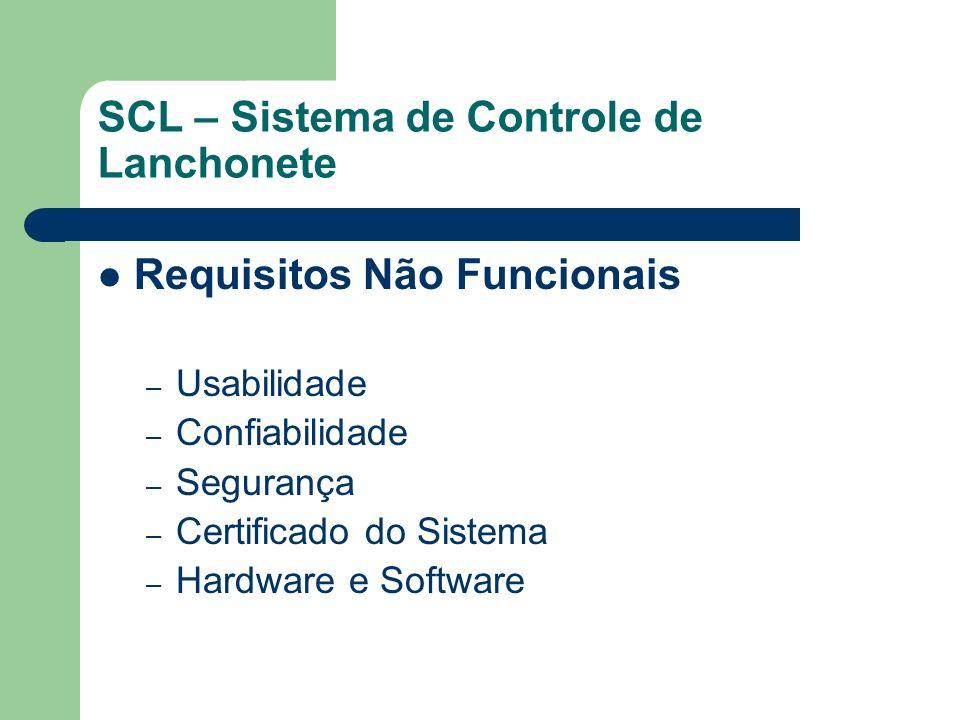 SCL – Sistema de Controle de Lanchonete Requisitos Funcionais – Registrar Venda de Produtos – Manter Produtos – Faturamento Diário