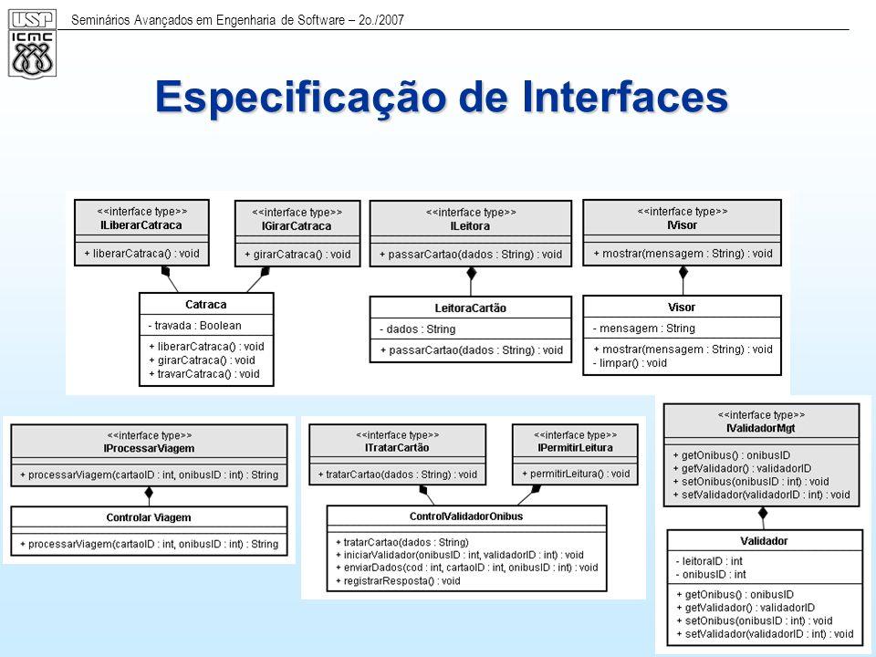 Seminários Avançados em Engenharia de Software – 2o./2007 24 Diagrama de Estados do subsistema do Ônibus