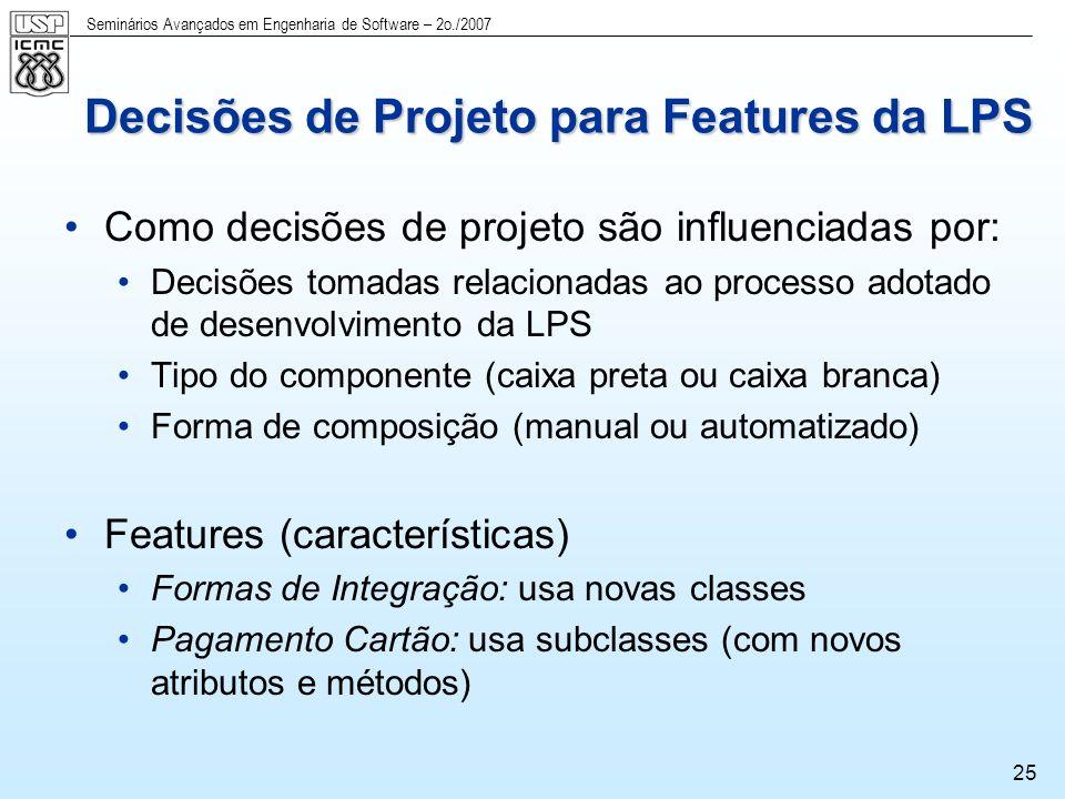 Seminários Avançados em Engenharia de Software – 2o./2007 26 Feature: Terminal Parte do diagrama de features Parte do modelo de classes Nova classe requerida