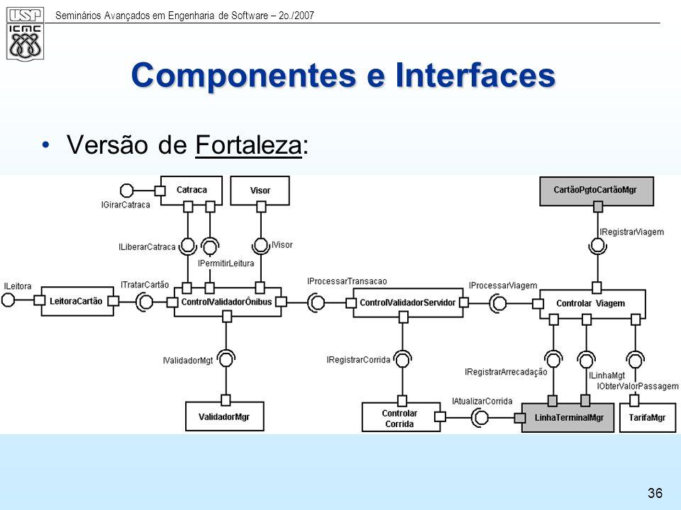 Seminários Avançados em Engenharia de Software – 2o./2007 37 Componentes e Interfaces Versão de Campo Grande: