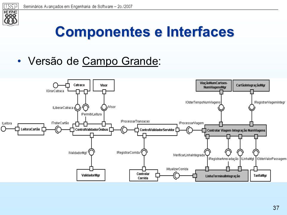 Seminários Avançados em Engenharia de Software – 2o./2007 38 Componentes e Interfaces Versão de São Carlos: