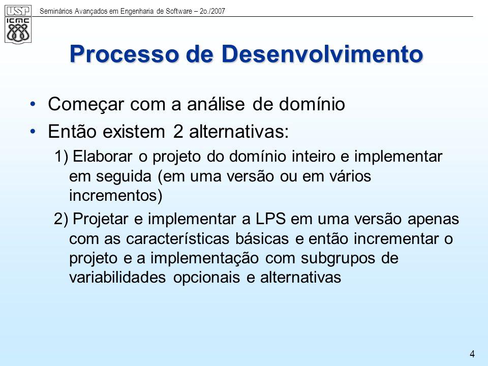 Seminários Avançados em Engenharia de Software – 2o./2007 5 Incrementos de LPSs Incrementos verticais e horizontais Incrementos Horizontais Subgrupo de características (features) que atendem a uma aplicação específica mas que não contém necessariamente todas as variabilidades de cada característica incluída