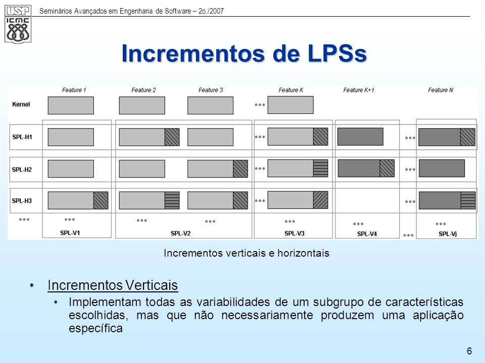 Seminários Avançados em Engenharia de Software – 2o./2007 7 Desenvolvimento da LPS-BET Consideramos importante ter um aplicação completa inicialmente: Opção de usar ciclos iterativos horizontais gerando uma aplicação em cada incremento Iteração 1 Apenas com as características do núcleo (Versão 1) Iteração 2 Versão 1 + características e variabilidades da aplicação de Fortaleza Iteração 3 Versão 2 + características e variabilidades da aplicação de Campo Grande Iteração 4 Versão 3 + características e variabilidades da aplicação de São Carlos Iteração 5 Versão 4 + todas as variabilidades + geração automática com um Gerador de Aplicação