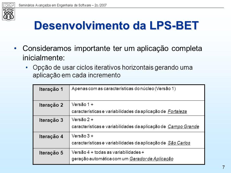 Seminários Avançados em Engenharia de Software – 2o./2007 8 Requisitos Requisitos do sistema BET de Fortaleza Requisitos do sistema BET de Campo Grande Requisitos do sistema BET de São Carlos