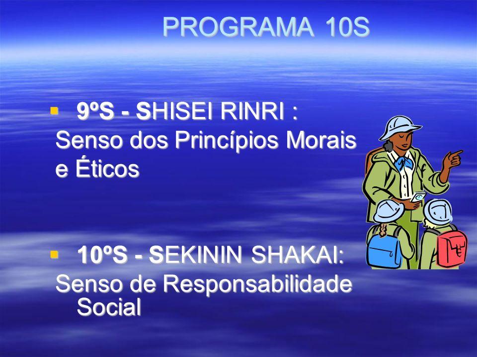 PROGRAMA 10S PROGRAMA 10S 9ºS - SHISEI RINRI : 9ºS - SHISEI RINRI : Senso dos Princípios Morais Senso dos Princípios Morais e Éticos e Éticos 10ºS - SEKININ SHAKAI: 10ºS - SEKININ SHAKAI: Senso de Responsabilidade Social Senso de Responsabilidade Social