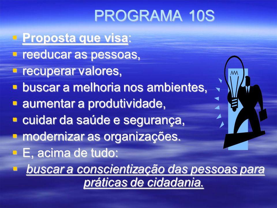 PROGRAMA 10S PROGRAMA 10S Proposta que visa: Proposta que visa: reeducar as pessoas, reeducar as pessoas, recuperar valores, recuperar valores, buscar a melhoria nos ambientes, buscar a melhoria nos ambientes, aumentar a produtividade, aumentar a produtividade, cuidar da saúde e segurança, cuidar da saúde e segurança, modernizar as organizações.